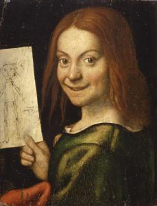 Portrait of a Boy with Drawing